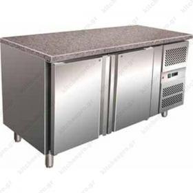 Επαγγελματικό Ψυγείο Πάγκος Συντήρηση 150.5 εκ. 2 Θυρών Ζαχαροπλαστικής με Γρανίτη Ταψιά 40χ60 εκ.