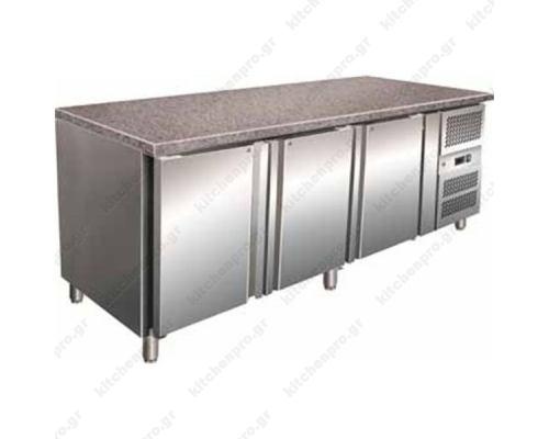 Επαγγελματικό Ψυγείο Πάγκος Συντήρηση 200 εκ. 3 Θυρών Ζαχαροπλαστικής Ταψιά 40χ60 εκ.