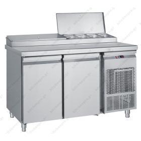 Επαγγελματικό Ψυγείο Πίτσας & Σαλατών 155x70 εκ. Συντήρηση με 2 Πόρτες