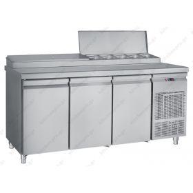 Επαγγελματικό Ψυγείο Πίτσας & Σαλατών 185x70 εκ. Συντήρηση με 3 Πόρτες