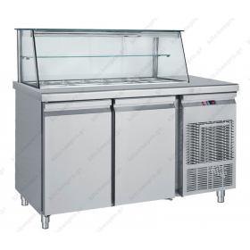 Επαγγελματικό Ψυγείο Τόστ - Σαλατών 155x70 εκ. Συντήρηση με 2 Πόρτες & Βιτρίνα GN 1/4