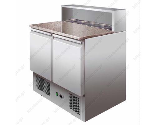 Ψυγείο πίτσας με πάγκο γρανίτη και ψυχόμενα λεκανάκια (90 εκ.)