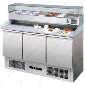 Επαγγελματικό Ψυγείο Πίτσας με Ανεξάρτητο Επαγγελματικό Ψυγείο Υλικών Επάνω 140χ70 εκ. FORCAR Ιταλίας