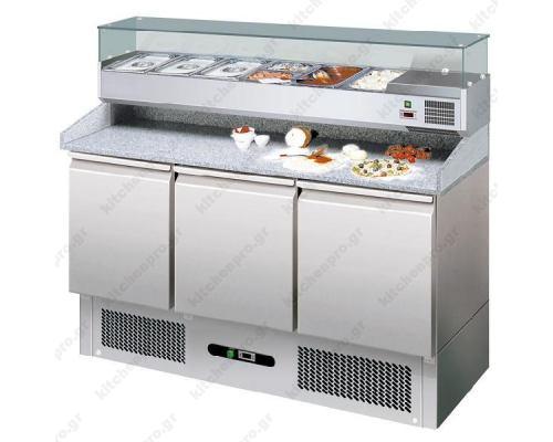 Ψυγείο Πίτσας με Ανεξάρτητο Επαγγελματικό Ψυγείο Υλικών Επάνω 140 x 70 εκ. FORCOLD Ιταλίας