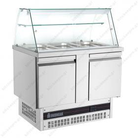 Επαγγελματικό Ψυγείο Πάγκος Τοστ - Σαλατών 108χ70 εκ. Συντήρηση με 2 Πόρτες & Βιτρίνα ΙΝΟΜΑΚ