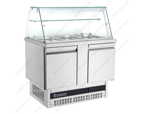 Επαγγελματικό Ψυγείο Πάγκος Τοστ - Σαλατών-Συντήρηση 108 x 70 εκ. με 2 Πόρτες & Βιτρίνα BSV7300 ΙΝΟΜΑΚ Eλλάδος