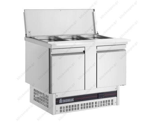 Επαγγελματικό Ψυγείο Πάγκος Τοστ - Σαλατών-Συντήρηση 108 x 70 εκ. με 2 Πόρτες BSV77 ΙΝΟΜΑΚ Ελλάδος