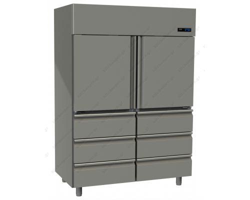 Επαγγελματικό Ψυγείο Θάλαμος-Συντήρηση με 2 Πόρτες & 6 Συρτάρια Slim Line 1315 Lt GINOX Ελλάδος