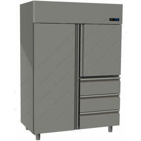 Όρθιο Ψυγείο Συντήρηση με 2 Πόρτες & 3 Συρτάρια -2°C/+5°C GINOX