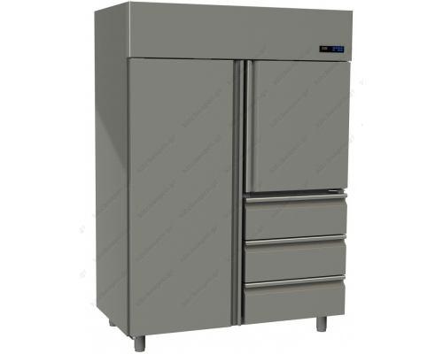 Επαγγελματικό Ψυγείο Θάλαμος-Συντήρηση με 2 Πόρτες & 3 Συρτάρια Slim Line 1315 Lt GINOX Ελλάδος