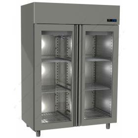 Όρθιο Ψυγείο Συντήρηση με 2 Κρυστάλλινες Πόρτες -2°C/+5°C GINOX