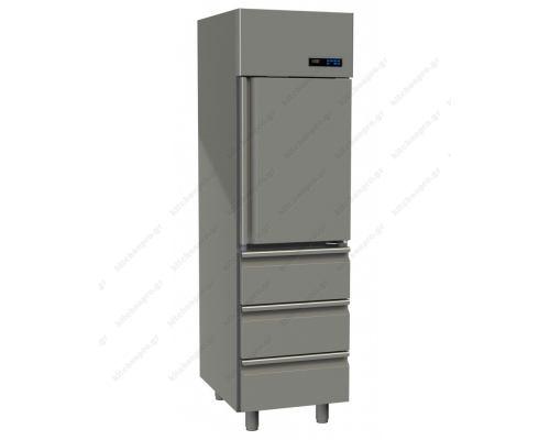 Επαγγελματικό Ψυγείο Θάλαμος-Συντήρηση 1 Πόρτα & 3 Συρτάρια Slim Line 455 Lt GINOX Ελλάδος