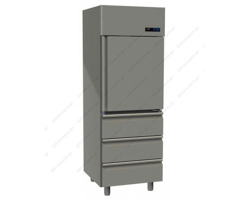 Επαγγελματικό Ψυγείο Θάλαμος Συντήρηση 1 Πόρτα & 3 Συρτάρια Slim Line 597 Lt GINOX Ελλάδος