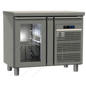 Επαγγελματικό Ψυγείο Πάγκος Συντήρηση 95.5χ60 εκ με 1 Κρυστάλλινη Πόρτα GINOX