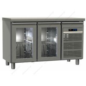 Επαγγελματικό Ψυγείο Πάγκος Συντήρηση 130χ60 εκ με 2 Κρυστάλλινες Πόρτες GINOX