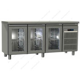 Επαγγελματικό Ψυγείο Πάγκος Συντήρηση 175χ60 εκ με 3 Κρυστάλλινες Πόρτες GINOX