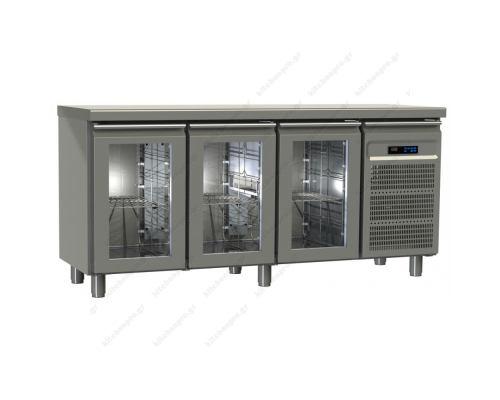 Επαγγελματικό Ψυγείο Πάγκος-Συντήρηση 175 x 60 εκ. με 3 Κρυστάλλινες Πόρτες GINOX Ελλάδος