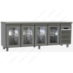 Επαγγελματικό Ψυγείο Πάγκος Συντήρηση 220χ60 εκ με 4 Πόρτες GN 1/2 & 1/3 GINOX