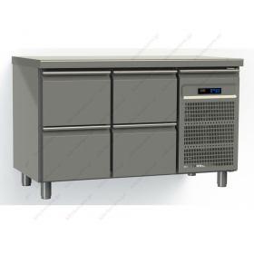 Επαγγελματικό Ψυγείο Πάγκος Συντήρηση 130χ70 εκ με 4 Συρτάρια GN 1/1 GINOX