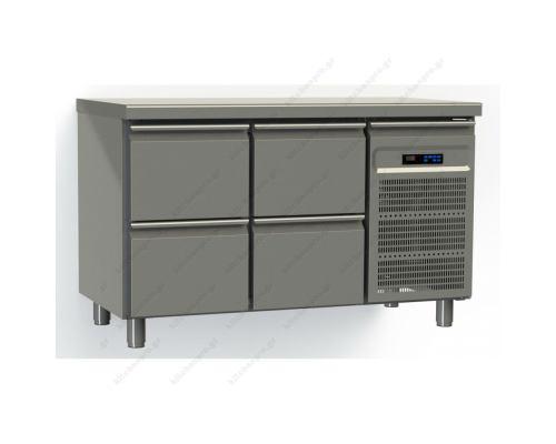 Επαγγελματικό Ψυγείο Πάγκος-Συντήρηση 130 x 70 εκ. με 4 Συρτάρια GN 1/1 GINOX Ελλάδος