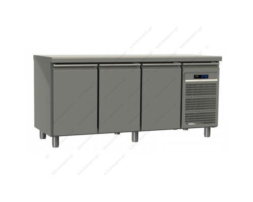 Επαγγελματικό Ψυγείο Πάγκος-Συντήρηση 175 x 70 εκ. με 3 Πόρτες GN 1/1 GINOX Ελλάδος