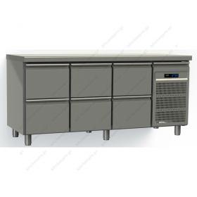 Επαγγελματικό Ψυγείο Πάγκος Συντήρηση 175χ70 εκ με 6 Συρτάρια GN 1/1 GINOX