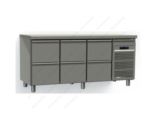 Επαγγελματικό Ψυγείο Πάγκος-Συντήρηση 175 x 70 εκ. με 6 Συρτάρια GN 1/1 GINOX Ελλάδος