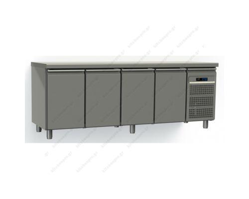 Επαγγελματικό Ψυγείο Πάγκος-Συντήρηση 220 x 70 εκ. με 4 Πόρτες GN 1/1 GINOX Ελλάδος
