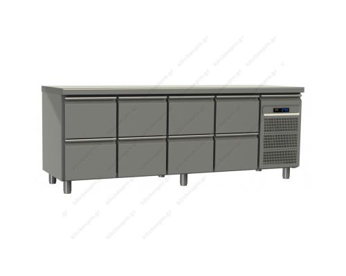 Επαγγελματικό Ψυγείο Πάγκος-Συντήρηση 220 x 70 εκ. με 8 Συρτάρια GN 1/1 GINOX Eλλάδος