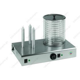 Συσκευή Hot Dog Ατμού για Βραστά Λουκάνικα & Θέσεις για Ψωμάκια RM GASTRO Τσεχίας HD-03 N/K