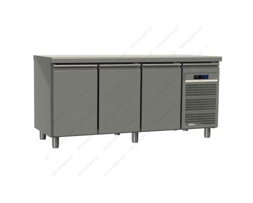 Επαγγελματικό Ψυγείο Πάγκος-Κατάψυξη 197.5 x 80 εκ. με 3 Πόρτες Ζαχαροπλαστικής GINOX Eλλάδος