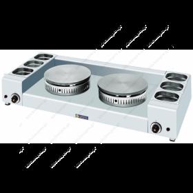 Κρεπιέρα Αερίου με 2 Πλάκες 40 εκ & Λεκανάκια Υλικών SERGAS KGL2X40