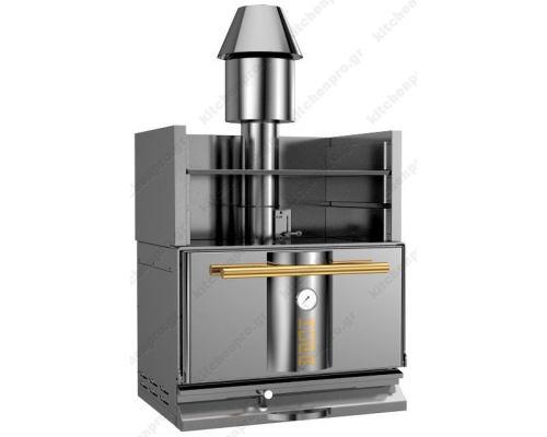 """Φούρνος Ξυλοκάρβουνο με Θερμαντικό Ράφι για 50-65 Κουβέρ """"INOX-GOLD"""" KOPA Σλοβενίας"""