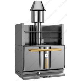 """Φούρνος Ξυλοκάρβουνο με Θερμαντικό Ράφι για 110-130 Κουβέρ """"INOX-GOLD"""" KOPA Τσεχίας"""