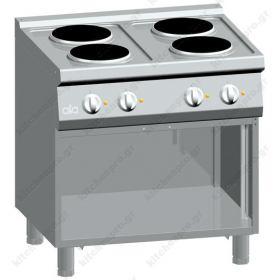 Επαγγελματική Κουζίνα 4 Στρογγυλών Εστιών με Ερμάριο 80x70 εκ ATA srl Ιταλίας