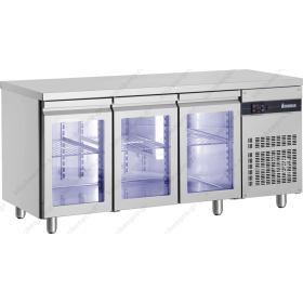 Ψυγείο Πάγκος Συντήρηση 179x70 με 3 Κρυστάλλινες Πόρτες