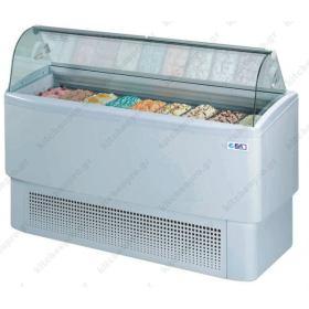 Ψυγείο Βιτρίνα Παγωτού για 4+4 Λεκανάκια ISA Ιταλίας FIJI 4 RV
