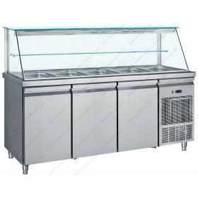 Επαγγελματικό Ψυγείο Τόστ - Σαλατών 185x70 εκ. Συντήρηση με 3 Πόρτες & Βιτρίνα GN 1/1