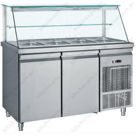 Επαγγελματικό Ψυγείο Τόστ - Σαλατών 139x70 εκ. Συντήρηση με 2 Πόρτες & Βιτρίνα GN 1/1