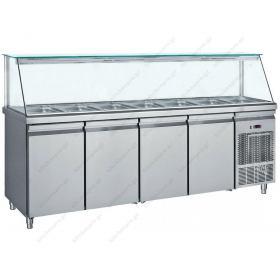 Επαγγελματικό Ψυγείο Τόστ - Σαλατών 239x70 εκ. Συντήρηση με 4 Πόρτες & Βιτρίνα GN 1/1