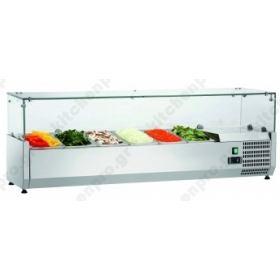 Επιτραπέζια Βιτρίνα Πίτσας - Τόστ για 7 Λεκανάκια GN1/4 150 εκ SAL1500-33