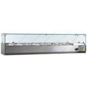 Επιτραπέζια Βιτρίνα Πίτσας - Τόστ για 8 Λεκανάκια GN1/4 180 εκ TEFCOLD, VK33-180