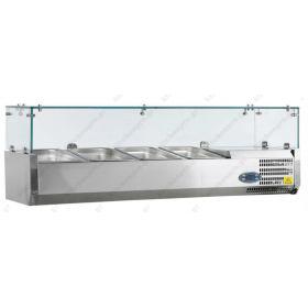 Επιτραπέζια Βιτρίνα Πίτσας - Τόστ για 4 Λεκανάκια GN1/3 120 εκ TEFCOLD, VK38-120