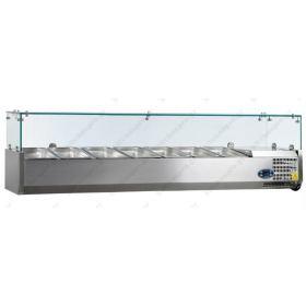 Επιτραπέζια Βιτρίνα Πίτσας - Τόστ για 7 Λεκανάκια GN1/3 160 εκ TEFCOLD, VK38-160
