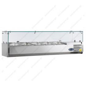 Επιτραπέζια Βιτρίνα Πίτσας - Τόστ για 5 Λεκανάκια GN1/4 120 εκ TEFCOLD, VK33-120