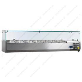 Επιτραπέζια Βιτρίνα Πίτσας - Τόστ για 7 Λεκανάκια GN1/4 160 εκ TEFCOLD, VK33-160