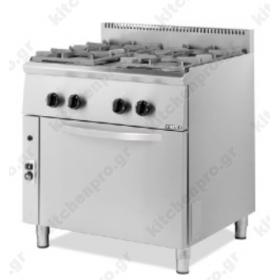 Επαγγελματική Κουζίνα 4 Εστιών Αερίου με Φούρνο Αερίου 80x70εκ 204STVE VIMITEX Ελλάδας