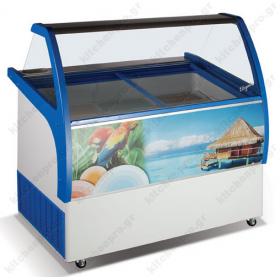 Επαγγελματικό Ψυγείο Βιτρίνα Παγωτού για 9 Λεκανάκια KITCHENPRO