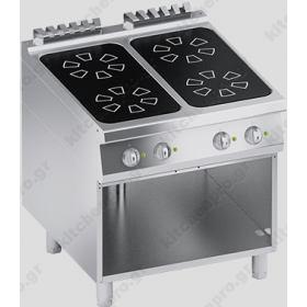 Επιδαπέδια Επαγωγική Κουζίνα 4 Εστιών 80x90 εκ 28KW ATA srl Ιταλίας