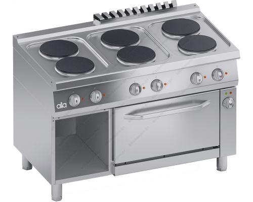 Επαγγελματική Κουζίνα 6 Εστιών & Hλεκτρικός Φούρνος 1/1 GN & Αποθηκευτικό Ερμάριο 70 x 120 εκ. C2ECU15FF S700 ATA srl Ιταλίας